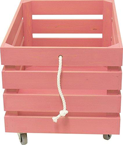 Sonpó Online - Modelo AFA8 - Juguetero organizador infantil con ruedas para almacenamiento de juguetes de AFAEPS - Hecho a mano de manera artesanal en madera - Color rosa