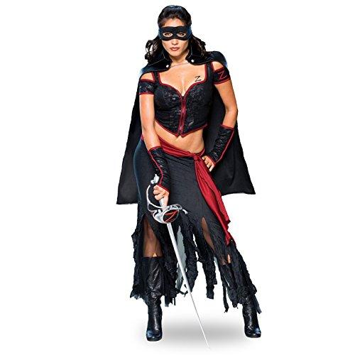 Abenteurerin Kostüm, günstiges Komplettkostüm, 5-teilig - M (Erwachsene Lady Zorro Kostüme)