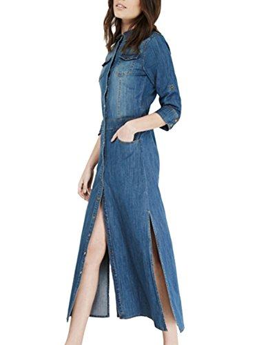 Azbro Women's Button Front Side Slit Denim Shirt Dress blue