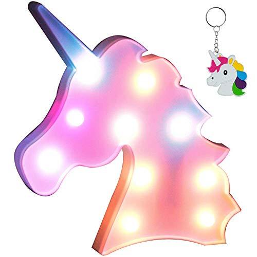 Unicornio luz de noche, lámparas LED de unicornio, marquesina, funciona con pilas, luces LED de mesa...