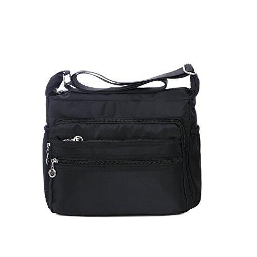 NOTAG Damen Umhängetasche, Wasserdicht Nylon Schultertasche Multi-Tasche Messenger Bag 2 Size (Schwarz, S) -