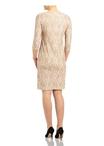 BASLER Kleid mit 3/4-Ärmel Beige/Weiß