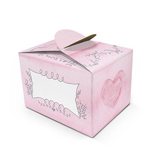 Logbuch-Verlag 25 kleine rosa Geschenkschachteln HERZ beschriftbar Mini Geschenkbox 8 x 6,5 x 5,5 cm Verpackung Gastgeschenk Mitgebsel Give-away Kommunion Taufe Kindergeburtstag