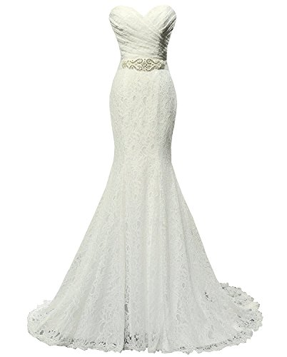 Solovedress Women's Lace Wedding Dress Mermaid Evening Dress Bridal Gown with Sash (UK 12, Ivory)