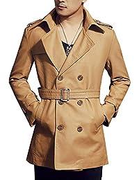 Uomo Cappotto Manica Lunga Giacca di Pelle PU Doppio Petto Slim Fit Trench  Coat Cachi XL b74b211514c