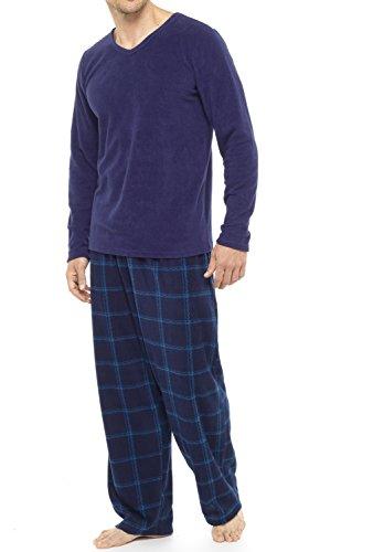 Tom franks pigiama da uomo 2 pezzi: pantaloni a quadri e maglietta in pile blue medium