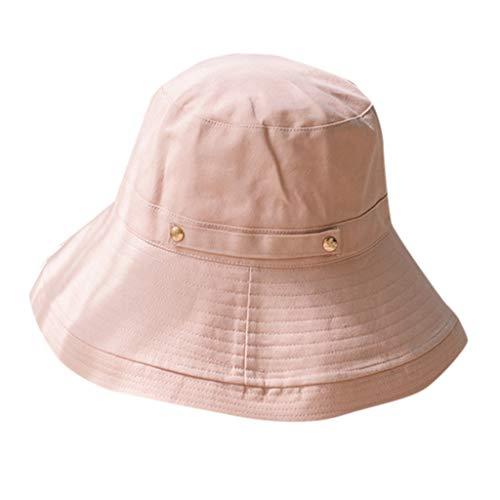 EUCoo MäNnlicher Und Weiblicher Studentenhut Normallack Faltender Sonnenschutzfischerhut Der Baumwolle(Rosa)