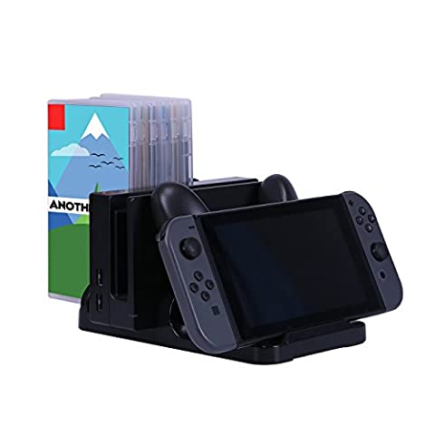 HDE Nintendo Switch Charging Dock Multi-Functional USB-C Charging Station with Storage for Joy-Cons Pro Controller Games and