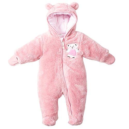 Baby Overalls mit Kapuze Schneeanzüge Fleece Strampler Spielanzug Footed Jumpsuit Winter Outfits, Rosa 6-9 Monate