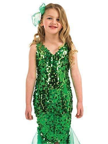 Mädchen-grün Pailletten Kleine Meerjungfrau Prinzessin Büchertag Woche Halloween Kostüm Kleid Outfit 4-12 Jahre - Grün, 10-12 Years, Grün