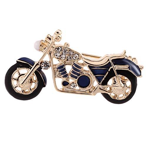 P Prettyia Vintage Motorrad Strass Brosche Ansteckernadel Sicherheitsnadel für Frauen Kleid Kleidung Dekorative Pin - Blau