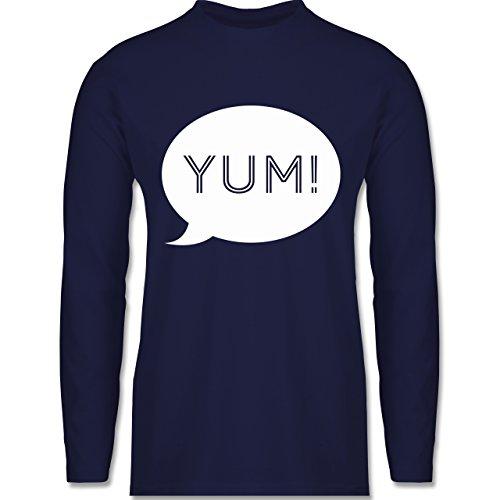 Küche - Yum Sprechblase - Longsleeve / langärmeliges T-Shirt für Herren Navy Blau