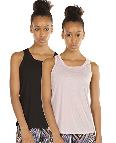 icyzone Damen Yoga Sport Tank Top - Rückenfrei Fitness Shirt Oberteil ärmellos Training Tops (M, Black/Pale Blush