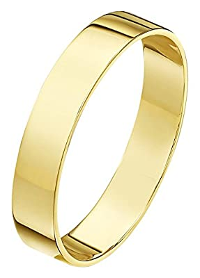 Theia Unisex 9ct Yellow Gold, Heavy Flat Shape, Polished Wedding Ring