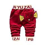 Baby Strampler Hirolan Kinderkleidung Mode Säugling Kleinkind Jungen Karikatur Elefant Drucken Hose Beiläufig Outfits 1T-4T Kinder Kleider (70cm, Rot)