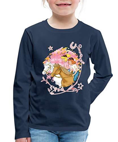 Spreadshirt Bibi Und Tina Wettreiten Im Wald Kinder Premium Langarmshirt, 110/116 (4 Jahre), Navy