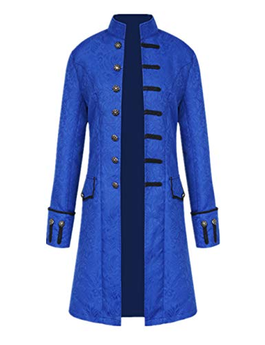 Tinyones Herren Steampunk Vintage Tailcoat Jacke Gothic Victorian Frock Coat Uniform Halloween Kostüm - Schwarz - XXX-Large