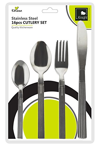 Knight Straight Line Cutlery Set Of 16 Pieces Stainless Steel Finish 4 Knives, 4 Forks, 4 Dessert Spoons, 4 Teaspoons