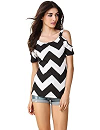 c277ff7f53ef0 TEXCO Black and White Cold Shoulder Women Tops
