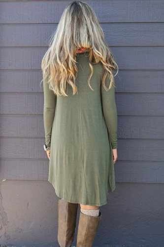 Minetom Femmes Casual Blouse Tops Pull Mini Robe Col Rond Robe Longue Chemise Vert armée