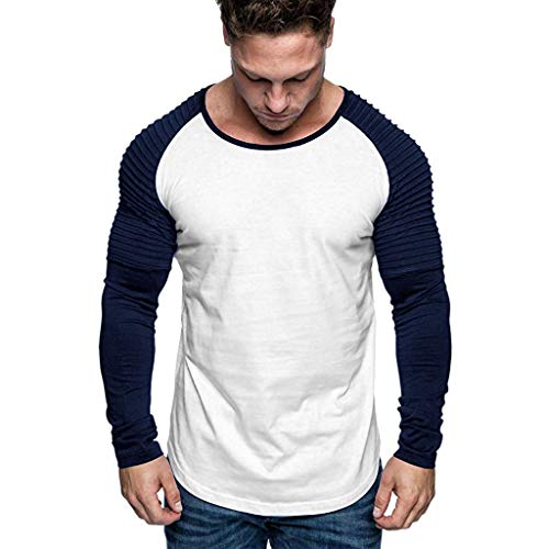 DNOQN Top Herren Long Tee Männer Männer Beiläufig Slim Fit Langarm Patchwork Shirt Top Rundhals Bluse L