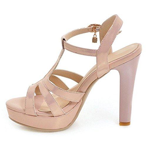COOLCEPT Damen Elegant T-Spangen Sandalen Blockabsatz Schuhe Open Toe Plateau Pink
