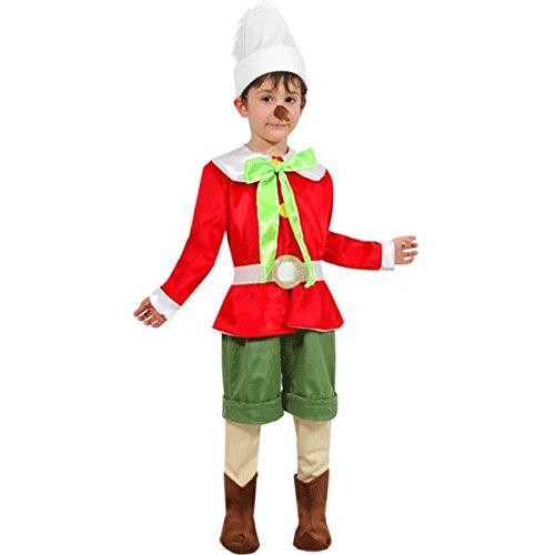 VESTITO COSTUME Maschera di CARNEVALE baby - PINOCCHIO - Taglia 5/6 anni - 88 cm