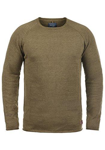 BLEND John Herren Strickpullover Feinstrick Pulli mit Rundhals-Ausschnitt aus 100% Baumwolle Meliert Mocca Brown (71508)