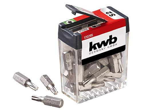 kwb T20-Bit Spender-Box - 25-teiliges Bit-Set, speziell für Torx-Schrauben, 25 mm Länge, C 6.3 Form und 1/4