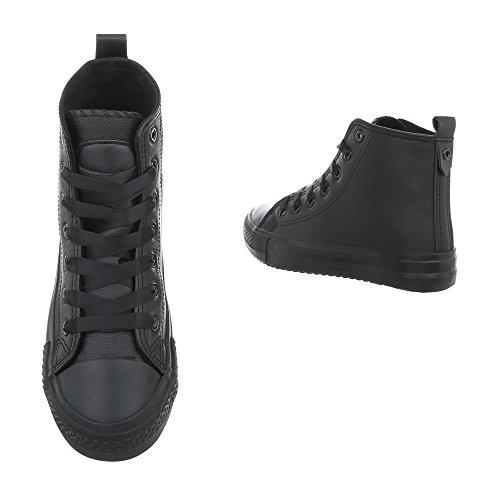 Ital-Design Scarpe da Donna Sneaker Piatto Sneakers High nero BL102