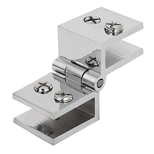 sourcingmap® Porte armoire salle bains 180 degrés porte-verre pince clip charnière Ton Argent