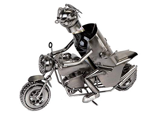 Motorrad-Fahrer Bierflaschenhalter 30 cm Originelle Geschenkidee für Biker -