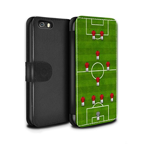 Stuff4 Coque/Etui/Housse Cuir PU Case/Cover pour Apple iPhone 5/5S / 4-1-2-1-2/Rouge Design / Formation Football Collection 4-1-2-1-2/Rouge