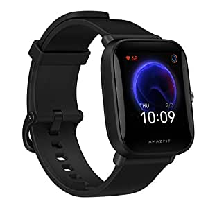 "Amazfit Bip U Smart Watch, 1.43"" HD Color Display, SpO2 & Stress Monitor, 60+ Sports Modes, Breathing Training, 50+ Watch Faces (Black)"
