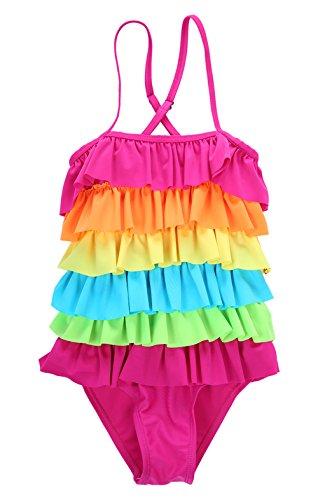 Little Girls Ruffled Rainbow Striped Bathing Suits Bikini Swimwear XL( 6-7years)