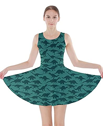 CowCow Womens Turquoise Dinosaur Graphic Prints Double Sided Skater Dress,