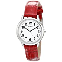 Timex Women's TW2P68700 Easy Reader Red Croco Pattern Leather Strap Watch