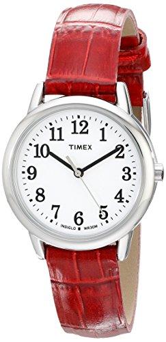 Timex Damen-uhr Rot (Timex Damen tw2p687009j Leicht lesbare silberfarbenes Uhr mit Rotem Lederband)