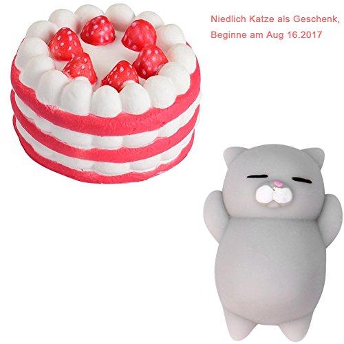 zeug Slice Cake Cream Scented Soft Slow Steigende Handy Halterung Hand Kissen Spielzeug Geschenk zufällige Holeider (Rot) (Lustige Halloween-lebensmittel Cartoons)