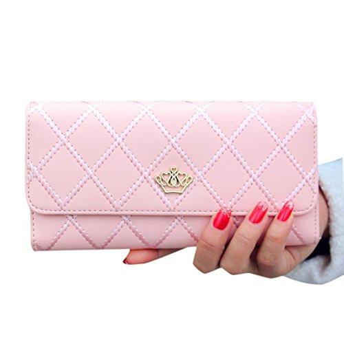 Subfamily® Lady Women Kupplung Lange Geldbörse Leder Geldbörse Karte Halter Handtasche Taschen mit Münzfach Geldklammer geldtaschen banktasche Lange Karte Münzbeutel PU Leder (rosa)