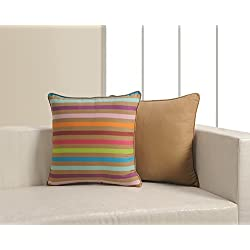 ShalinIndia Multicolor Indian Printed Cushion Pillow Covers - Set of 2 - 18 inches by 18 inches - Perfect For Bedroom Decor - Machine Washable