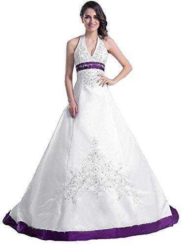 Edaier Frauen Perlen Halfter bestickt Satin Kleid Vintage Braut Brautkleid Größe 52 Beige Lila