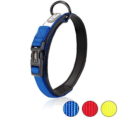 Happy Hachi Hundehalsband Verstellbare Nylonband Kragen gepolstert atmungsaktive Anti-Choke Anti-Reiben Mesh mit Ring Reflektierend Halsband -