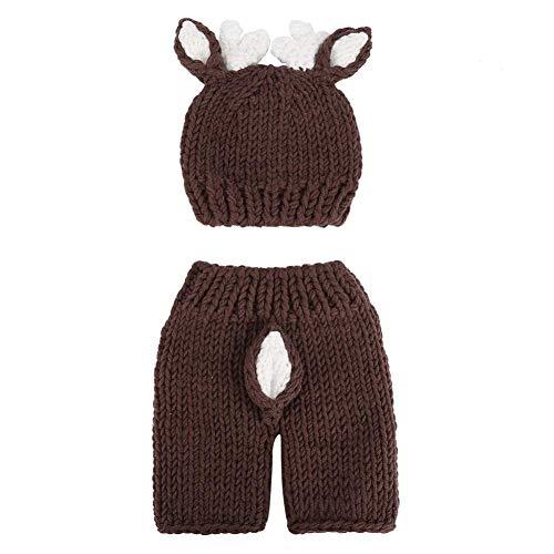 Neugeborene Fotografie Kostüm, niedliche Neugeborene Baby Foto Requisiten häkeln Hirsch Hut Bodysuit Fotografie Requisiten ()
