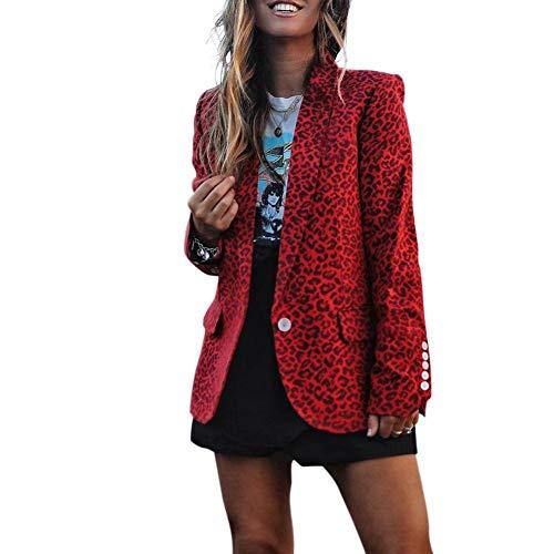 Chinkyo Blazer Chic Estampado de Leopardo para Mujer, Chaqueta de Manga Larga, Chaqueta de otoño y Primavera, Abrigo de Moda Rojo S