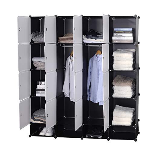 Woltu sr0090sw diy armadio a cubo grande guardaroba pieghevoli stanzino combinato ripostiglio modulare scarpiera bianco+nero