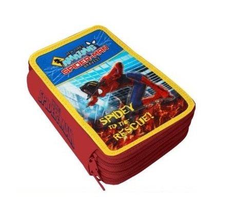 Spiderman astuccio triplo 3 cerniere 3 zip pieno con giotto turbocolor