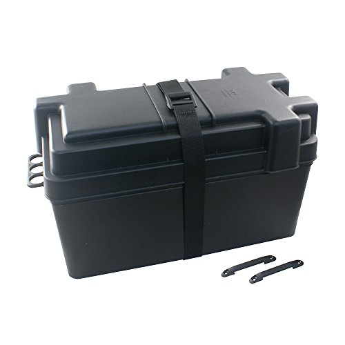 Batteriebox | Batteriekasten für AGM und GEL Batterien bis 120 Amperestunden | mit Trennwand und Gurt | aus schwarzem, säurebeständigem und bruchfestem Kunstoff