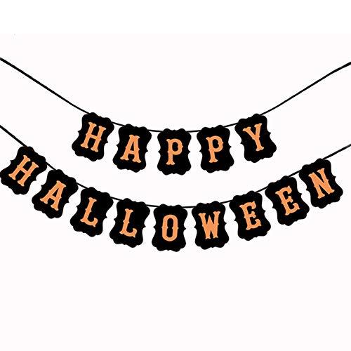 Fansi 1 Stück Halloween Party Dekoration Retro Flagge Happy Halloween Text Kraftpapier Pull Flower Home Dekoration für Urlaub Zubehör (Schwarz1)