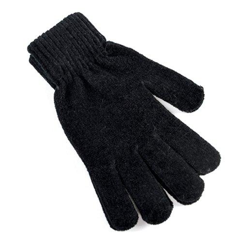 Damen Handschuhe Magic Chenille Warm Winter Zubehör Grau Beerenfarbe Blaugrün Blau Schwarz - Schwarz, Erwachsene dehnbare Passform (Magic-handschuhe Dehnbare)